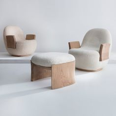 For Sale on - 'MAD' armchair. Made to order by Pierre Yovanovitch, Paris, Hand carved oak. Upholstered by Ateliers Jouffre, Lyon. Plywood Furniture, Furniture Upholstery, Furniture Decor, Furniture Design, Minimalist Furniture, Futuristic Furniture, Mid Century Modern Furniture, Modern Armchair, Furniture Inspiration