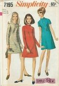 An unused original ca. 1967 Simplicity Pattern 7195.  The A line dress has set in sleeves, high round neckline and back zipper.View 1 and 2 have bias stand up collar with optional top stitching.View 1 and 3 have long sleeves.View 2 has short sleeves.View 3 is collarless.
