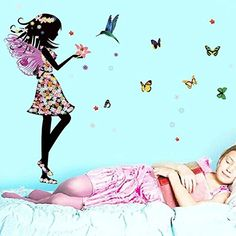 Wall Sticker, Hatop Angel Wings Beautiful Girl Flowers Butterfly DIY Wall Stickers Removable Home Decoration Living Room Bedroom Girl's Room Decor