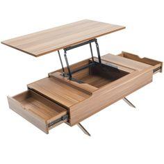 Trendy Hidden Storage Behind Tv Coffee Tables Ideas Lift Up Coffee Table, Diy Coffee Table, Coffee Table With Storage, Diy Table, Pallet Furniture Tv Stand, Plywood Furniture, Cool Furniture, Furniture Storage, Woodworking Furniture