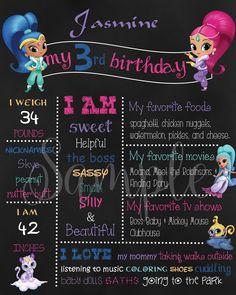 Personalized Shimmer and Shine Birthday Chalkboard sign Batman Birthday, Elmo Birthday, Mermaid Birthday, Birthday Chalkboard, Boss Baby, Shimmer N Shine, Chalkboard Signs, Favorite Tv Shows, 4 Years
