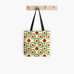 Christmas tree balls with green wreaths Tote Bag