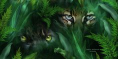 Hidden deep inside a wild surprise ... you are being watched by Jungle Eyes. This painting of black panther and ocelot eyes watching from behind lush jungle leaves is from the 'Spirit Of The Wild - Big Cats' collection of art by Carol Cavalaris. This is a companion image to Jungle Eyes - Jaguar, and Jungle Eyes-Tiger/Panther.