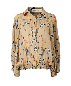 Bird Print Chiffon Blouse with Batwing Sleeves