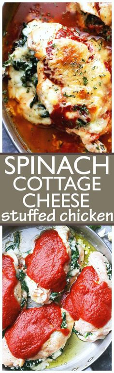 Saucy Spinach and Cottage Cheese Stuffed Chicken - Easy, delicious, yet healthy stuffed chicken breasts with spinach and cottage cheese, all baked in a hot and bubbly pasta sauce. #chickenrecipeshealthypasta