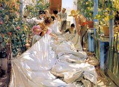Joaquin Sorolla En cousant le voile, 1896 Museo d'Arte Moderna di Ca Pesaro - Venise, Italie