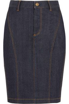 Burberry Brit Stretch-denim pencil skirt este corte también me gusta-A-PORTER Blue Denim Skirt, Denim Pencil Skirt, Skirt Pants, Dress Skirt, Skirt Outfits, Casual Outfits, Skirt Fashion, Fashion Outfits, Denim Ideas