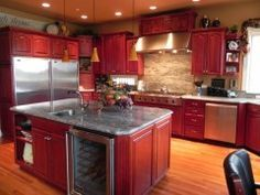 Image Result For Wine Red Kitchen Cabinets Home In 2019 Red