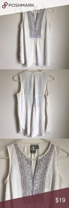 Anthropologie Embellished Sleeveless Tunic Gorgeous embellished & embroidered tank. Nice detail at the neck like, slim split v neck. Material Polyester & Rayon. Chest 17.5 inches straight across. Length: 29 inches. Brand is One September for Anthropologie. Anthropologie Tops Tank Tops