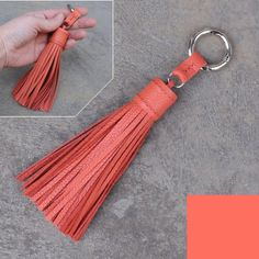 Large type -flamingo unique and chic hand stitched cowhide leather tassel key chain or bag charm-(pl Diy Leather Tassel, Leather Tassel Keychain, Diy Tassel, Leather Earrings, Leather Jewelry, Leather Craft, Tassels, Flamingo Color, Diy Sac