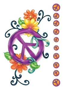 idea for embellishing my peace sign tattoo, I don't want all the little peace signs down the side. That is very unnecessary! Hippie Peace, Happy Hippie, Hippie Love, Hippie Art, Hippie Chick, Cool Tattoos, Peace Love Happiness, Peace And Love, The Journey