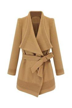 Irregular Lapel Lacing Camel Coat