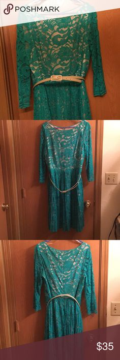 Green dress. Knee length, three quarter sleeve green lace dress. Dresses Long Sleeve