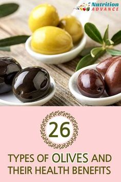 26 Types of Olives: A Guide to Our Healthiest Fruit | Everyone knows black olives and green olives, but did you know there are literally hundreds of different types of olives? Here are 26 of the best and their health benefits. Olives are full of nutrients, low carb, high in healthy fats and phytonutrients. And they're delicious too! | Read the article at http://nutritionadvance.com/types-of-olives via @nutradvance
