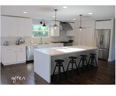 white cabinets, white counters, modern kitchen