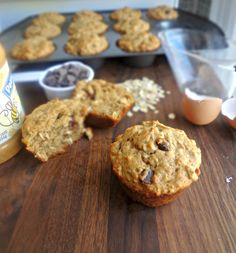 The Cooking Actress: Peanut Butter Chocolate Chip Oat Muffins {HEALTHY}