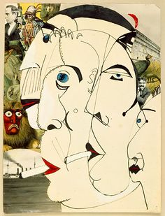 'Smokers' by Erwin Blumenfeld. This piece is dadaism because the subjects are very abstract and almost nonsensical which is telltale of dadaism. There is a slight calling to analytical cubism which evolved from dada. Tristan Tzara, Art Pop, Illustrations, Illustration Art, Dada Art Movement, Dada Collage, Collage Artists, Dada Artists, Art Nouveau