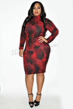 Abstract Print Fitted Dress   Thick Chic Boutique//    http://www.thickchicboutique.com/