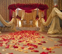 flowers, decor, floral, venue, rose, backdrop, ceremony, furniture, place setting, chairs, chuppah, real, south asian, cultural