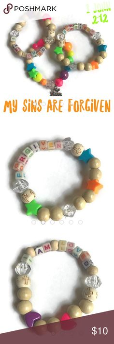 """I am Forgiven, Jesus loves Me, I am Loved, 3PC """"...dear children, because your sins have been forgiven on account of his name."""" 1 John 2:12  Jesus loves the little children!  Children's 3PC bracelet set  Materials: plastic colorful letter beads, plastic beads, wood beads, metal charm Jewelry Bracelets"""