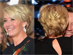 The Best Hairstyles for Women Over 50: Emma Thompson This is a classic short hairstyle on Emma Thompson (born April 15, 1959). Note the tons of layers and the super long, side-swept bangs. I've seen photos where Thompson wears her bangs blown-dried back almost in a mohawk effect and it looks great.