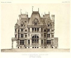Castles & Manor Houses | archimaps: Elevation of a Chateau near...