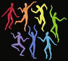 Rainbow Dancing Men 8 Machine Embroidery Designs 5x7