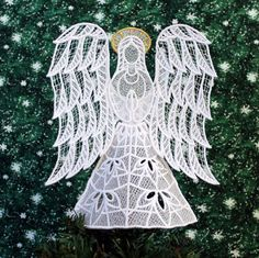 Joy Lace Angel Tree Topper With Gold Halo by CalicoMouse