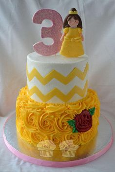 Belle Princess Cake with yellow rosette and one red rose #chevrons #beauty