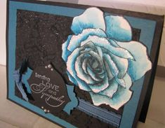 handmade sympathy card ... gorgeous rose from Fifth Avenue Floral ... black and Island Indigo ... watercolored rose cut out and slightly glittered ... Stampin' Up!
