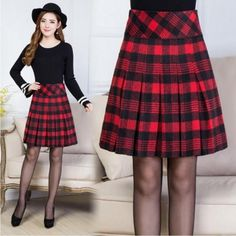 M-5XL Winter Pleated Skirt Woman Korean A Line Thin Plaid Skirts Women Promotion Large Size middle age Woman Woolen Skirt Casual