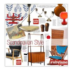 """Scandinavian Style with Rubylane.com"" by bamaannie ❤ liked on Polyvore featuring interior, interiors, interior design, home, home decor, interior decorating, White Label, Beacon and vintage"