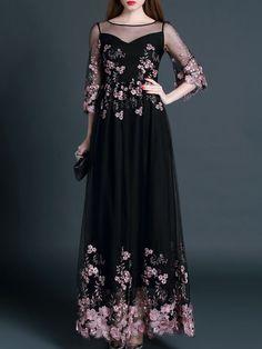 Embroidery Silk Maxi Dress