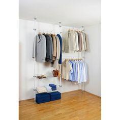 Wenko Herkules in. H Steel Telescopic Closet System Wardrobe Rail, Wardrobe Systems, Build A Wardrobe, Walk In Wardrobe, Clothes Storage Systems, Clothing Storage, Clothes Hooks, Clothes Rail, Hanging Clothes