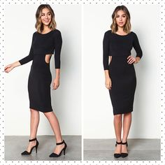 Black Cut Out Bodycon Dress NWT Black Cut Out Bodycon Dress. Size mediums Dance the night away. Sleek jersey bodycon dress with a circular cut out in back and overlay. 3/4 sleeves and form hugging fit. Looks cute with ankle strap heels and a clutch!  95% Rayon. 5% Spandex. Hand wash or dry clean. Made in USA. l ❌ TRADES ❌PAYPAL  ✔️ POSH RULES  Dresses Midi