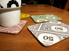 Handmade Recycled Monopoly Money Drink Coasters set