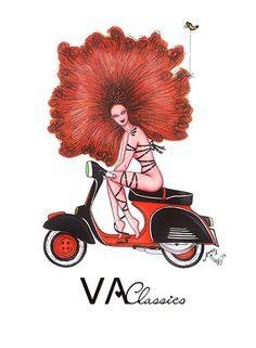 VA Classics Illustration/Ilustración nº7. Original Illustration by me; Aninka Miller #vespa #lambretta #piaggio #scooter #scooterist #vespino #vespista