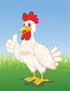 Vector of 'Chicken cartoon with thumb up' on Colourbox