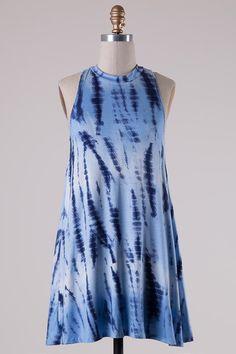 Blue Tie Dye Tank Aline Dress