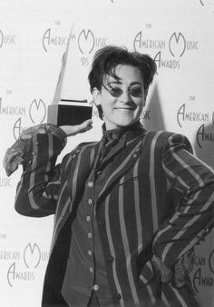k.d. lang. Photo taken after winning the American Music Award for Best New Female Adult Contemporary Artist in 1992.
