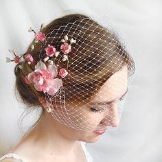 wedding birdcage veil bridal bandeau veil white by thehoneycomb, $35.00
