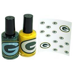 Green Bay Packers Nail Polish 2 Pack at the Packers Pro Shop Packers Baby, Green Bay Packers, Packer Nails, Color For Nails, Gold Bottles, Go Pack Go, Nail Polish Designs, Green And Gold, Hair And Nails