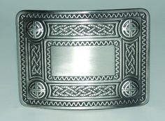 Celtic Knot Kilt Belt Buckle. Available in three finishes which makes matching up any outfit easy! Finish available: Antique, Chrome or Black