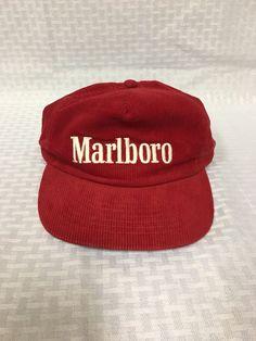 3ea923effec Marlboro Corduroy Snapback Hat Vintage 80s 90s Iconic Cigarettes Red  Habitat  fashion  clothing