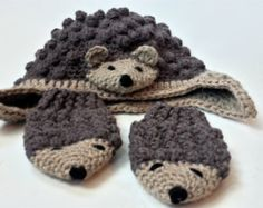 Hedgehog mittens and hat, earflap hat and baby mittens, crochet mittens and hat…