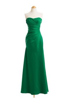 Strapless Asymmetrical Draped Satin Gown