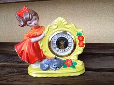 What a Sweet Vintage Timepiece! This wind up clock was manufactured by Kentocs in West Germany. The time can be adjusted faster or slower by a