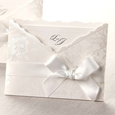 White Enchanted Floral Pocket - Wedding Invitations by B Wedding Invitations