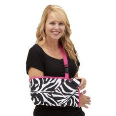 """These are AWESOME! """"Slingz! give you superior comfort and style with features like longer sling length to prevent wrist drop and a thumb loop to stop arm sling creep. Available waist strap and a block for between the body and arm for immobilization. Make your sling your own with custom options like a cell phone pocket, 9 trim colors and 70 prints, with an incredibly comfortable comfort strap. We can add your logo or pictures, too."""" #ZebraGear #EDS"""