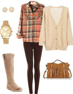 """""""Fall Flannel"""" by stephleighcollins on Polyvore Oversized cardigan, flannel shirt, skinnies, brown boots."""